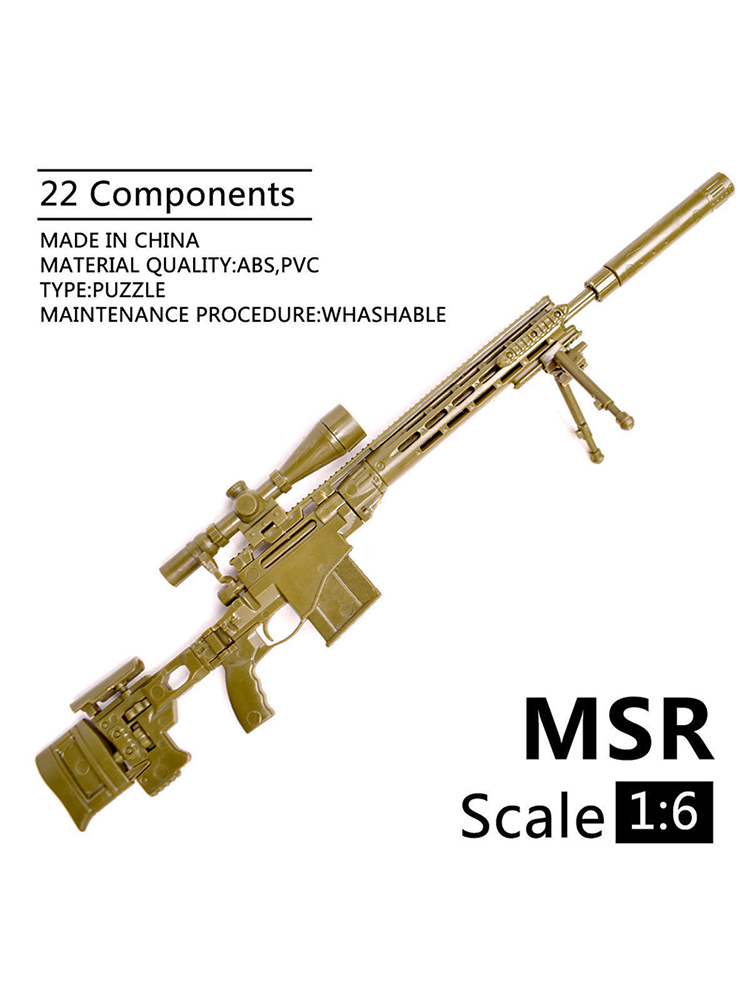 1/6 Scale Remington MSR Modular Sniper Rifle Model Gun Assembly Puzzles Building Bricks For 12