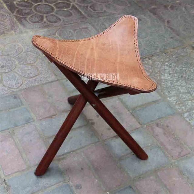 New Portable Three Legged Solid Elm Wood Folding Stool Leather Seat