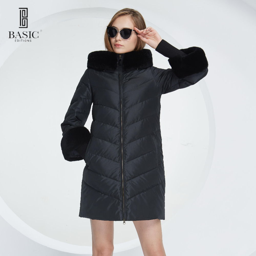 Basic Vogue Women Winter Hood Rabbit Fur Long Coat Down Parka Jacket with Fur Sleeves - WY214 basic editions fall winter brown metallic silk fabric cotton coat with rabbit fur collar with belt covered button 7001d11