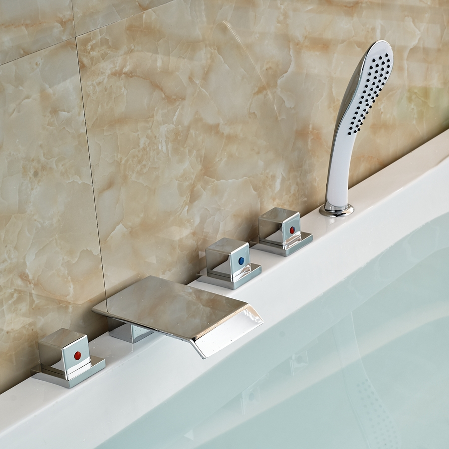 Elegant Waterfall Spout Chrome Brass Bathroom Tub Faucet W/ Hand Shower Sprayer комплектующие для раковин hangzhou elegant bathroom 88888