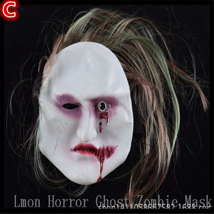 Halloween Novelty Props Artificial hair+Rubber caps Halloween witch ghost vendetta Sadako horror mask scary party mask for Adult