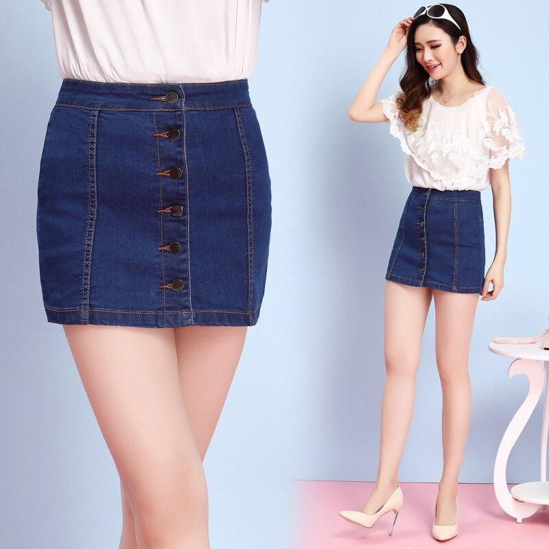 8d83f3d79 € 10.72 45% de DESCUENTO|2016 Nueva minifalda de mezclilla de primavera  para mujer minifalda Sexy con botón de línea a faldas de Jeans informales  ...