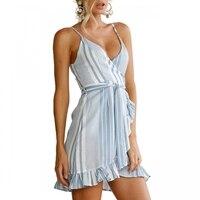 Spaghetti Strap Blue White Striped Beach Ruffle Dress Women Wrap V Neck Sleeveless Sexy Mini Party