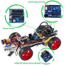 Smart Car Kit para Arduino uno R3 Diy Electrónica Evitando Obstáculos Trazando Luz Buscando Robot Kits de Coche Inteligente