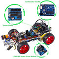 SunFounder Smart Car Kit for Arduino Uno R3 Electronic Diy Obstacle Avoiding Line Tracing Light Seeking Robot Kits Clear Color