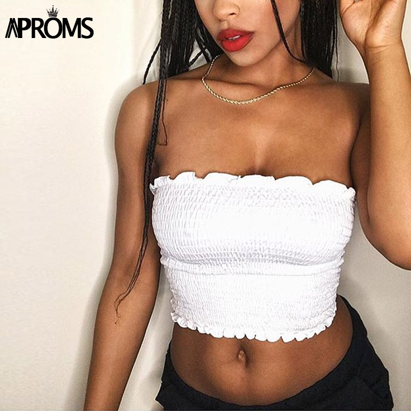 Aproms Cool Girls Basic   Tank     Tops   Women Elegant Strapless Tube   Tops   Fashion 2019 Streetwear Dot Plaid Print Camis Crop   Top   Tees