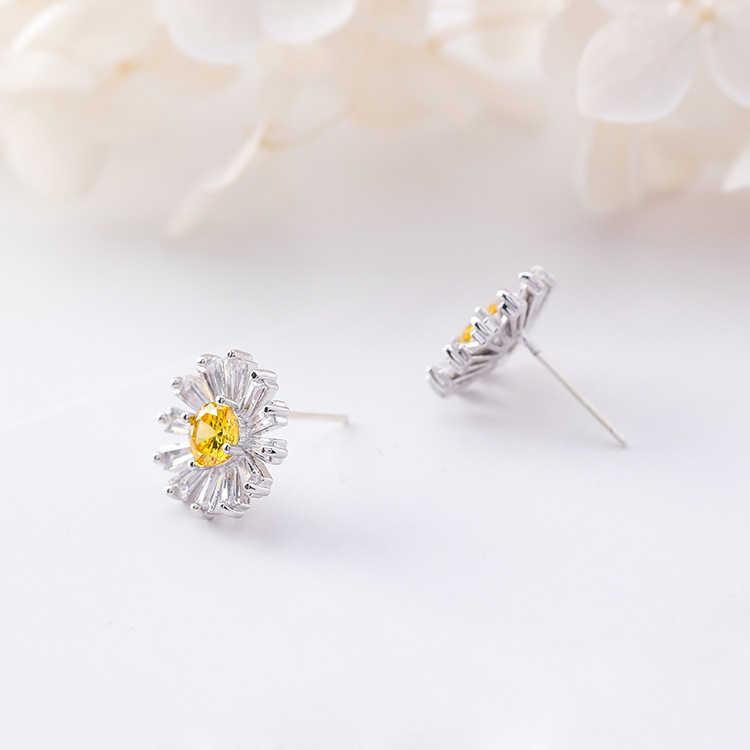 ... 2018 Fashion Daisy Flower Zircon 925 Silver Stud Earrings Simple  Temperament Sweet Sunflower Earings for Women ...