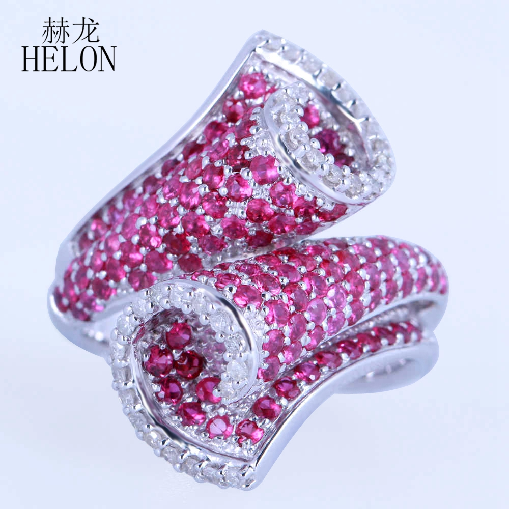 HELON Solid 10k (417) White Gold 100% Genuine Natural Diamonds & Rubies Engagement Match Band Ring Unique Trendy Fine Jewelry helon solid 10k 417 white gold genuine natural diamonds art deco milgrain engagement wedding women trendy fine jewelry ring