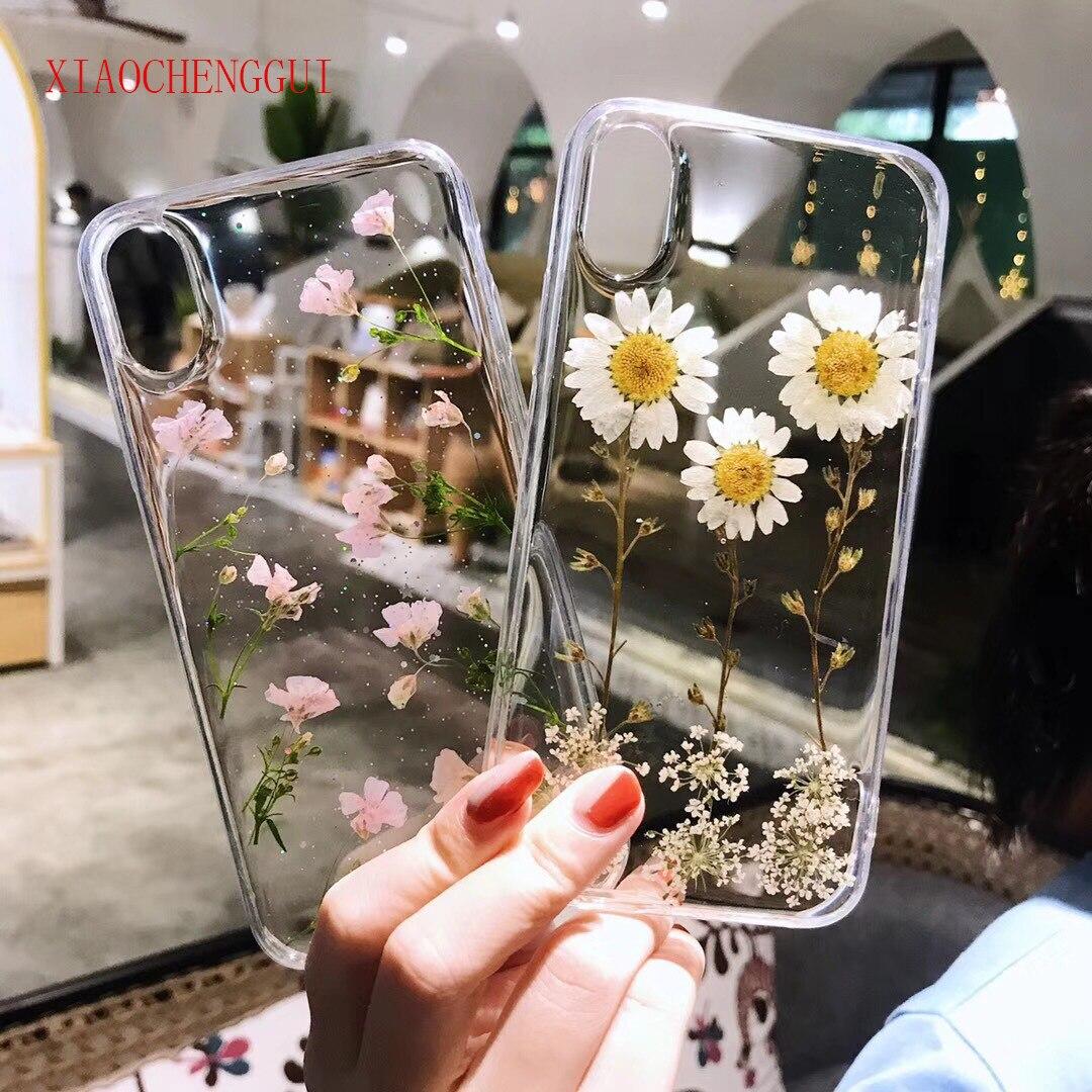 Flores reales flores secas funda trasera suave TPU para iphone 6X6 S 7 8 plus funda transparente para iphone 11 xs max Cover