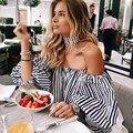 New Blusas Blouse Women White Black Strip Long Lantern Sleeve Off Shoulder Female Femme Top Cotton Sexy Fashion Short MZ1330