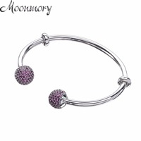 Moonmory Moments Silver Open Bangle With Pave Caps S925 Sterling Silver Bead Bracelet With Red Zircon