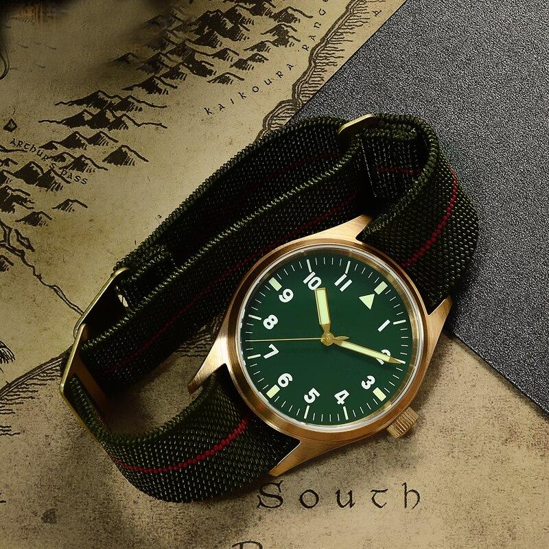 San Martin de los hombres de bronce piloto automático Vintage reloj de buceo reloj de pulsera 200 m resistente al agua de cristal de zafiro con nylon elástico bel