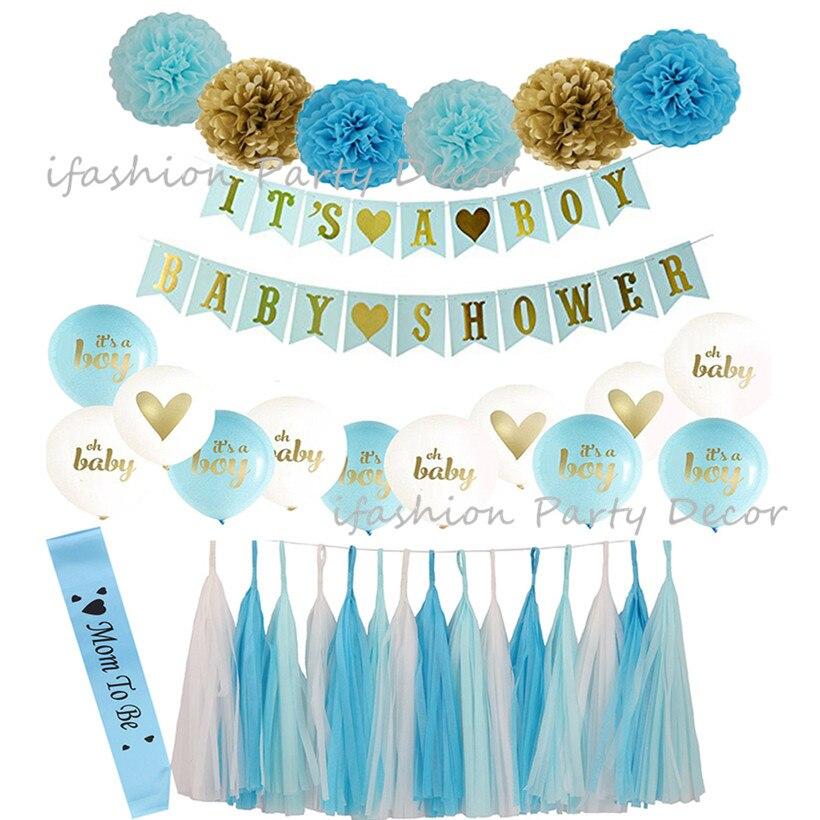 Rosa Blau Gold Baby Dusche Dekorationen Mutter Zu Schärpe Bunting Banner Garland Papier Blume Pom Poms für Junge Mädchen dusche Liefert