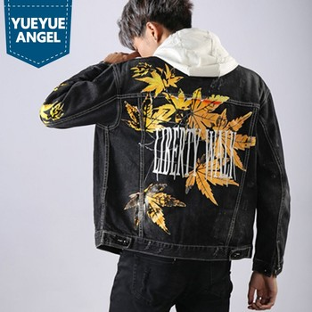 Spring New Brand Korea Mens Maple Leaf Print Casual Loose Denim Jackets Plus Szie M-XXXL Pockets Frayed High Street Cowboy Coats