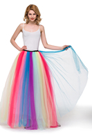 New Style Tulle Women Skirt Summer Rainbow Gradient Color High Waisted Long Skirts Tutu Pleated Ball