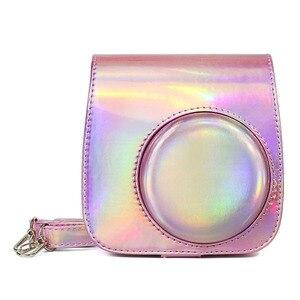 Image 2 - Fujifilm Instax Mini 9 Mini 8 sac étui pour appareil photo holographique brillant Laser instantané caméra bandoulière sac protecteur housse pochette