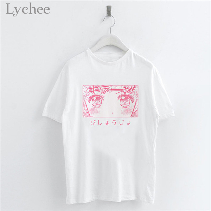 Lychee Japanese Anime Cartoon Sailor Moon Print Women T-Shirt White Casual O-Neck Short Sleeve T Shirts Tee Top Female