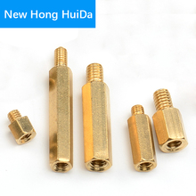 цена на M3 Hex Brass Male Female Standoff Stud Board Threaded Pillar Mount Hexagon PCB Motherboard Spacer Hollow Bolt Screw M3*L+3mm