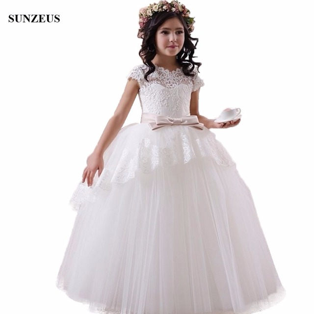 Ball Gown Cap Sleeve Appliques Flower Girl Dress With Bow Puffy Long ...