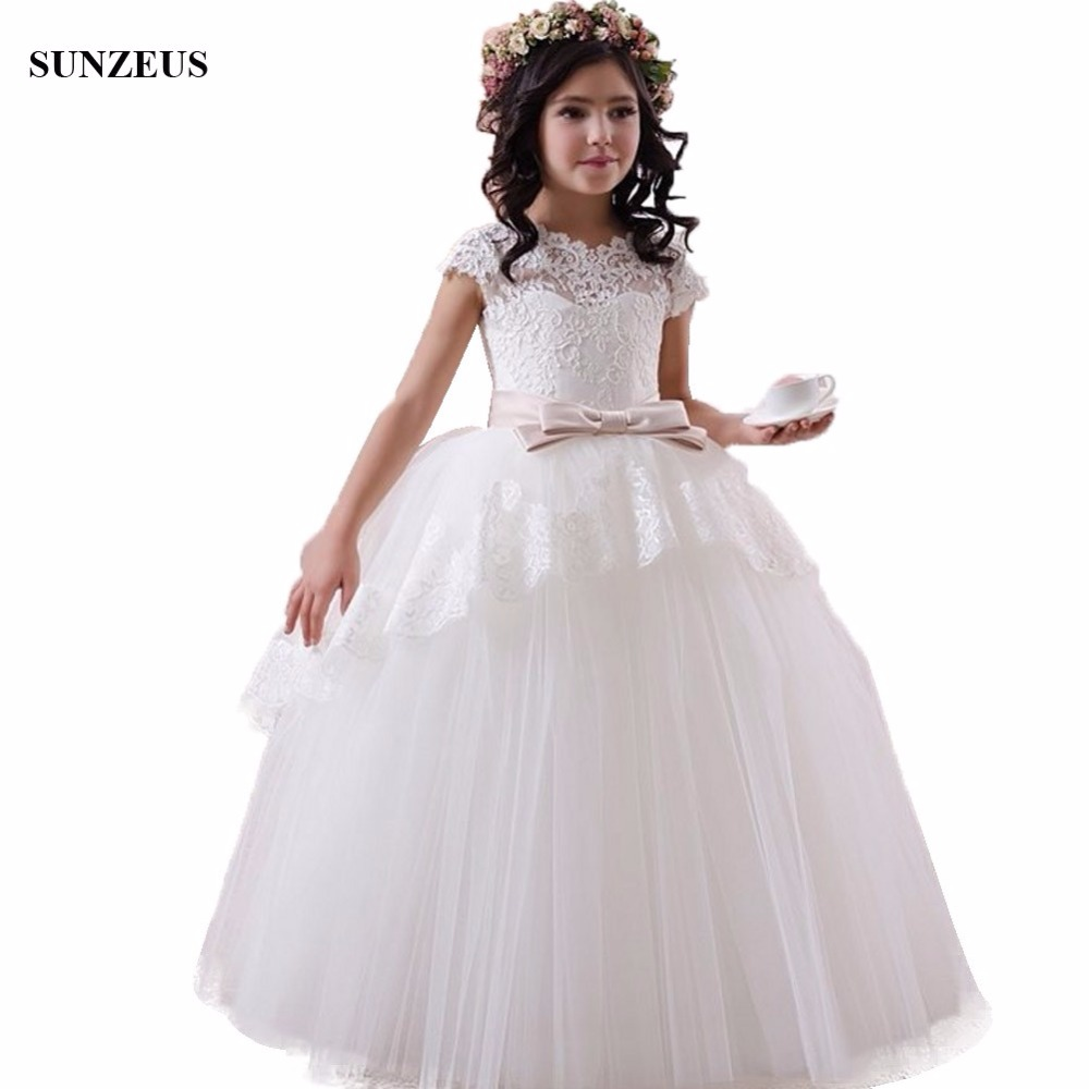 Ball Gown Cap Sleeve Appliques   Flower     Girl     Dress   With Bow Puffy Long Children Party Gowns Wedding abito cerimonia bambina FLG089