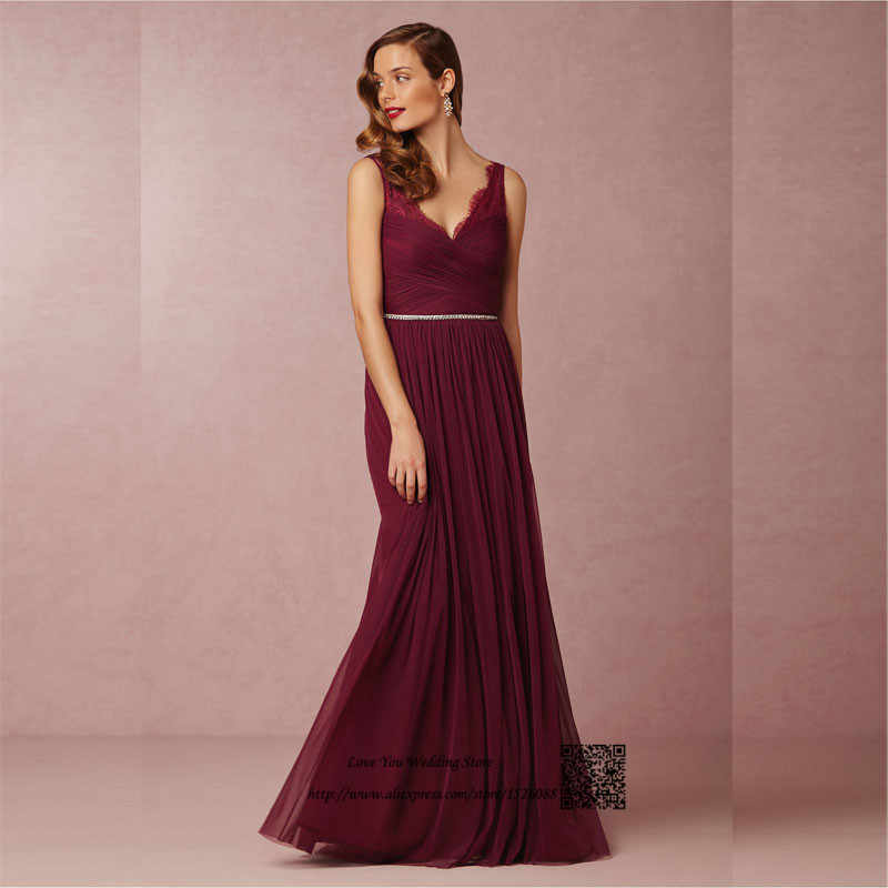 Burgundy Bridesmaid Dresses 2016 Maroon Long Lace Maid of Honor Dress For  Weddings Floor Length Crystal 33d6e9764841