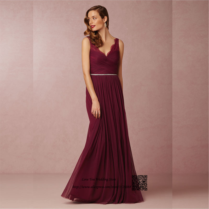 Burgundy Bridesmaid Dresses 2016 Maroon Long Lace Maid Of Honor Dress For Weddings Floor Length Crystal Sash Wedding Guest In From