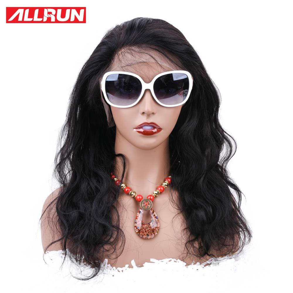 Allrun Μηχάνημα Made Front Μαλλιά Περούκες - Ανθρώπινα μαλλιά (για μαύρο) - Φωτογραφία 1
