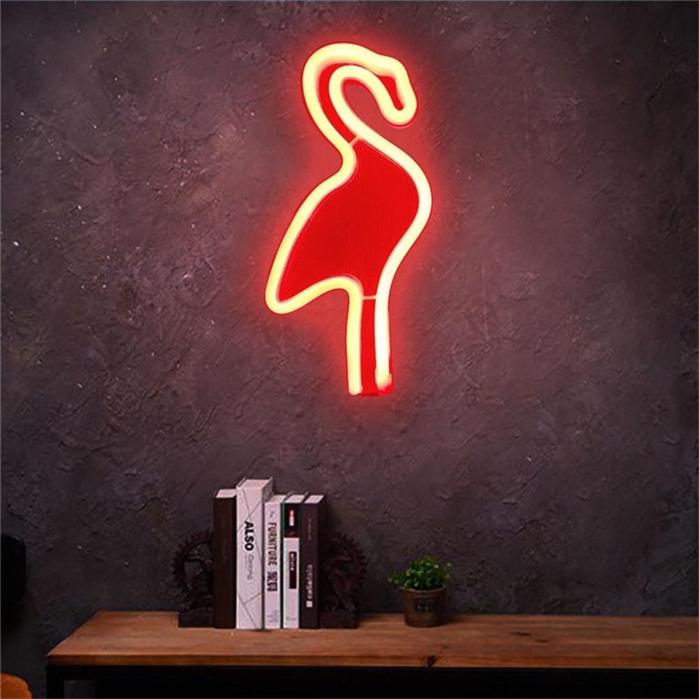 SOLLED Creative Flamingo Wall Hanging Lamp Bar Party Club Decor Neon Sign Design Romantic Dim Mood Lamp Battery Operated