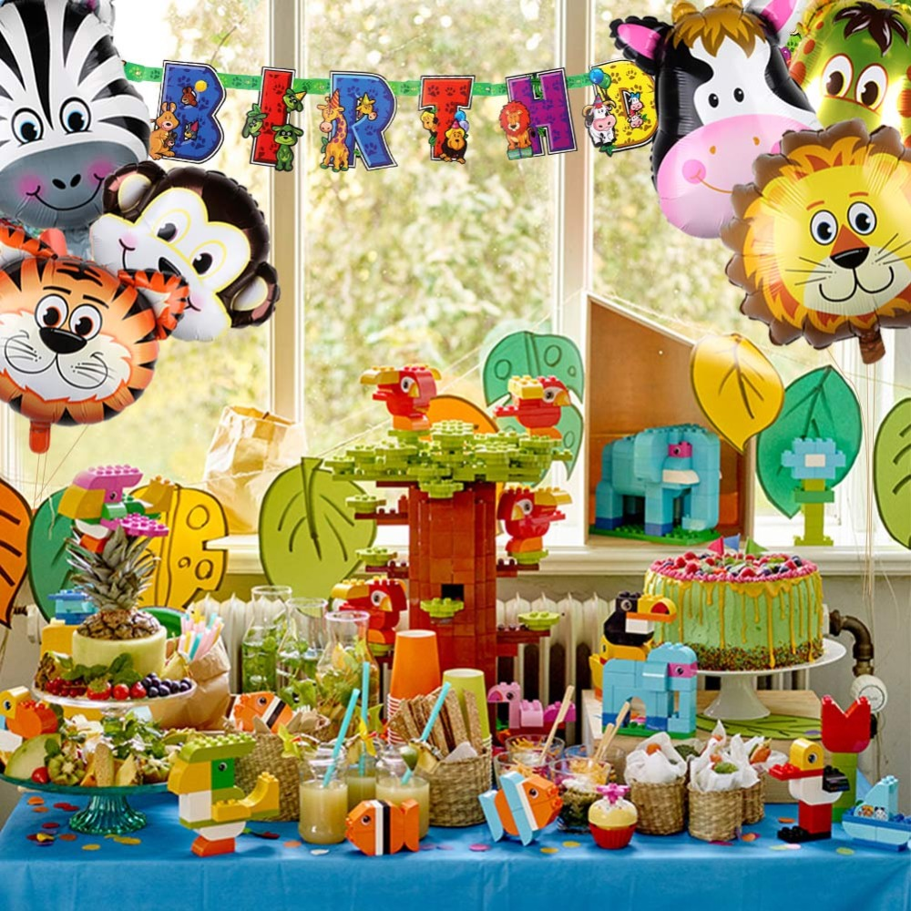 OurWarm 6Pcs 22inch Safari Animals Balloons Air Helium Foil Balloon Jungle Themed Birthday Party Baby Shower Decorations In Ballons Accessories