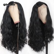 QD Tizer שחור שיער ארוך Loose גל שיער טבעי עם תינוק שיער Glueless סינטטי תחרה קדמית שחור נשים
