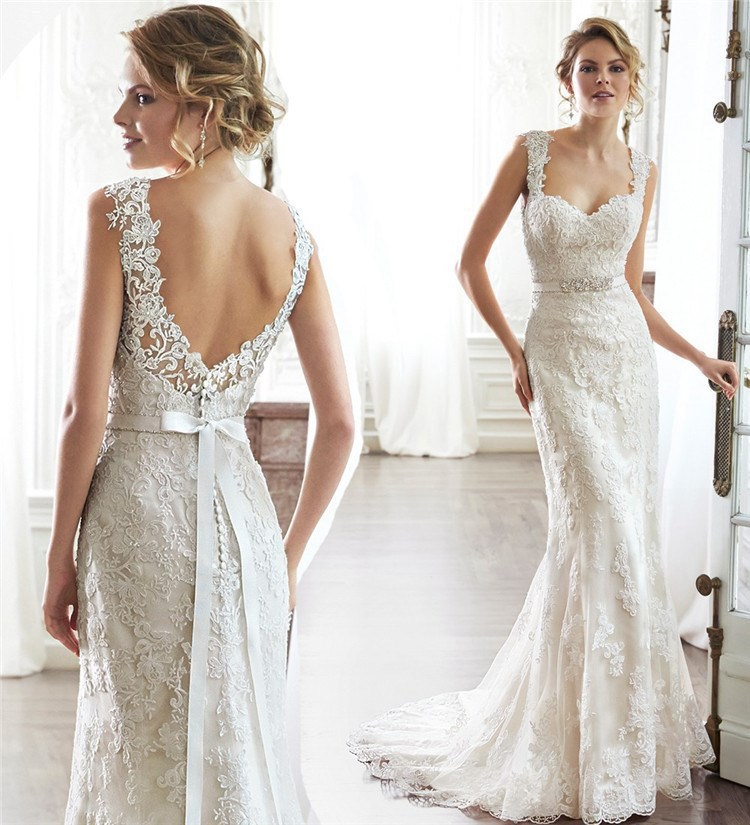 64b96495568e Sexy Low Back Lace V Edges Mermaid Wedding Dresses Sweetheart Spaghetti  Straps Fit Vestido De Noiva Bridal Sash Bow Sereia 2016-in Wedding Dresses  from ...