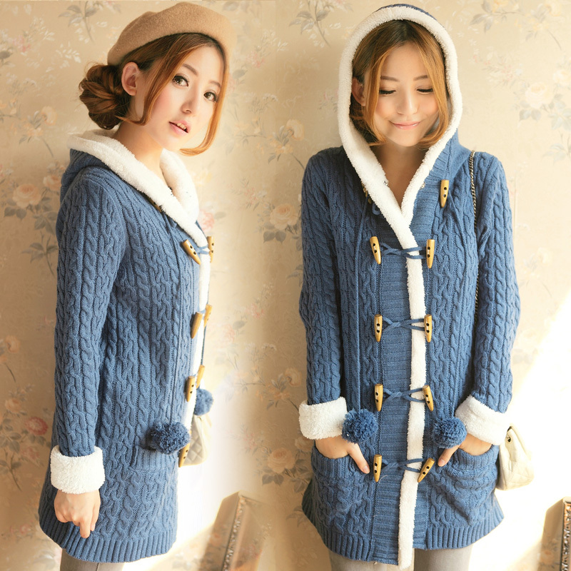 Women British style horn button fleece thickening long sweater ...