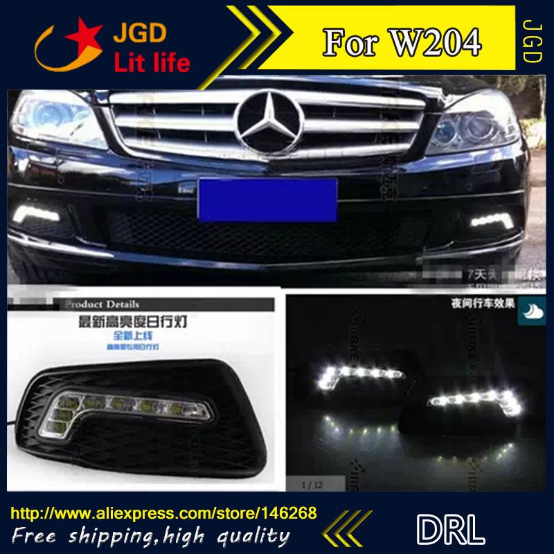 Free shipping ! 12V 6000k LED DRL Daytime running light for Benz W204 fog lamp frame Fog light Car styling free shipping 12v 6000k led drl daytime running light for benz glk300 glk350 glk500 fog lamp frame fog light car styling