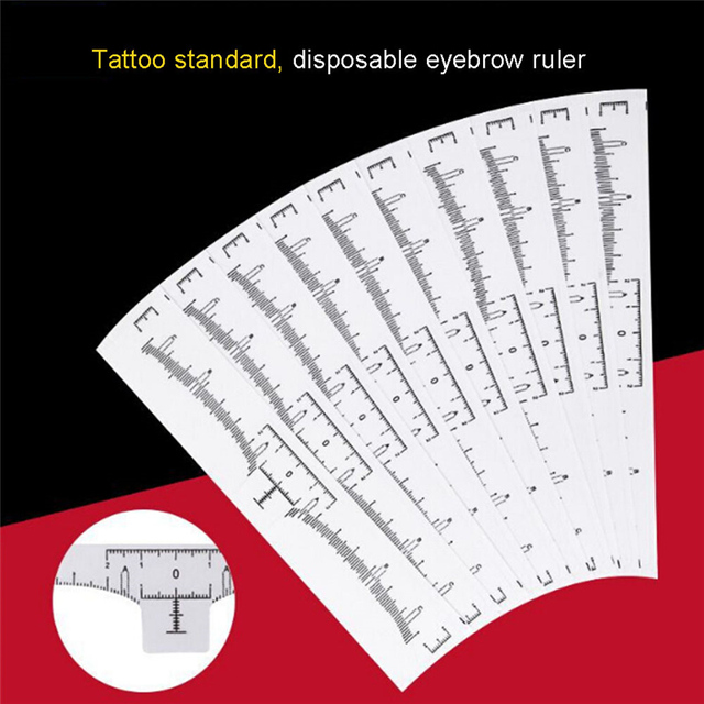 50pcs/lot Eyebrow Ruler Makeup Brow Measure Tool Eyebrow Guide Ruler Makeup Tools Tattoo Measurement Rulers Sticker 5