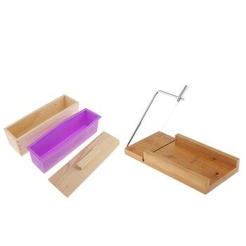 Boîte en bois, moule de pain de savon de Silicone et trancheuse de fil de coupe de savon, pour le savon de bricolage/gâteau/outils de fabrication de chocolat