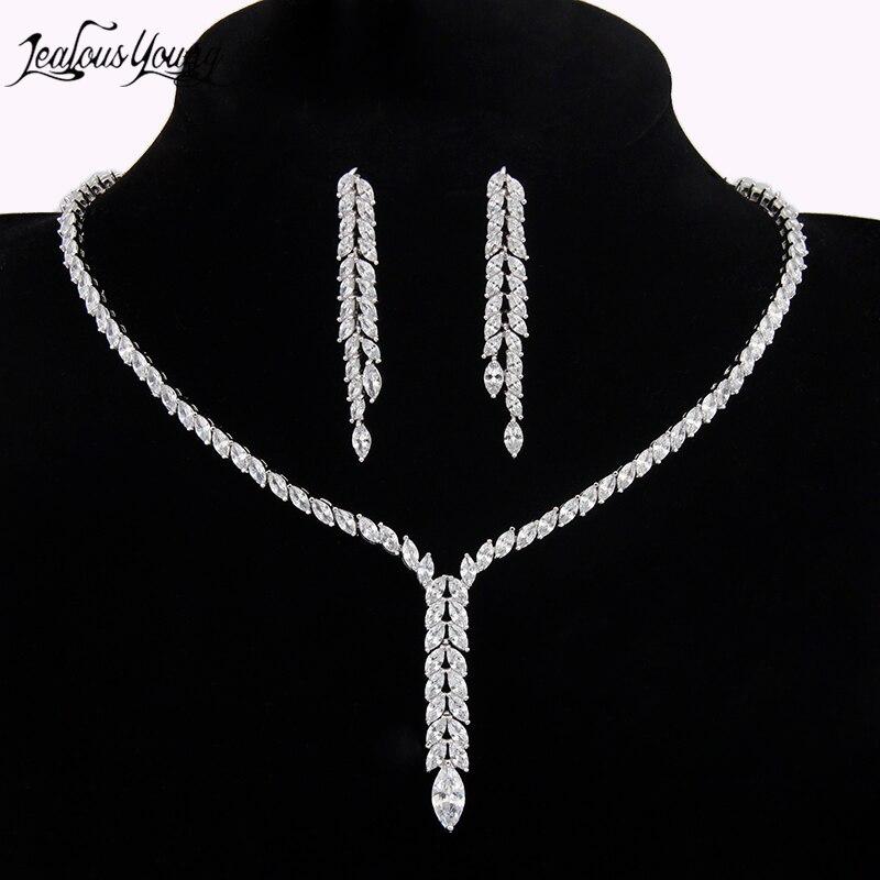 Élégant simulé perle Bijoux de mariée ensembles Bijoux de mariage feuille cristal colliers boucles d'oreilles ensembles Parure Bijoux AS064