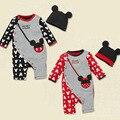 2016 Moda bebé Mameluco + Sombrero bolsa de ratón impreso Jumpers infantiles uno-pedazos Boy ropa de La Muchacha