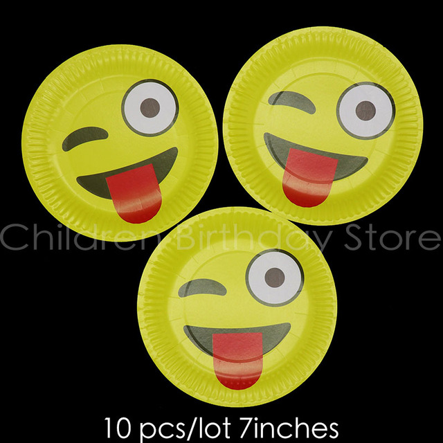 10pcs Lot Funny Tongue Theme Disposable Plates Emoji Birthday Party Decorations Cute Supplies