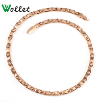 Wollet Jewelry Pure Titanium Necklace Women Rose Gold Color Hematite Germanium 2 In 1 Element Pendant Health Energy