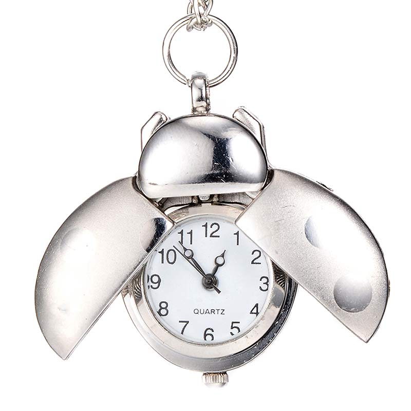 Fashion Beetle Shape Quartz Pocket Watch Necklace Pendant Clock Chain Jewelry Gifts LXH