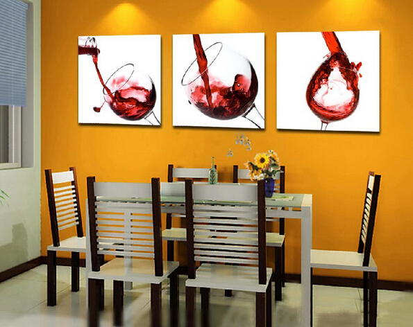 3 Pcs Set Contemporary Artwork Prints Wine Gl Canvas Wall Art Painting Modern Home Kitchen