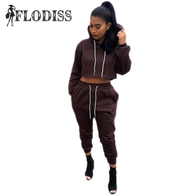Sportsuit 2017 Mujeres Del Invierno de Algodón Sportwear Chándal 2 Unidades Set Sólido Cultivo Mujer Hoodies + Pants Deportivos Trajes de Disfraces