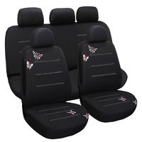 Dewtreetali Universal 9pcs Front Rear Car Seat Covers Embroidery Car Seat Cushion Protector Four Seasons Black