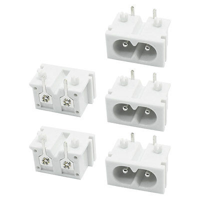 5Pcs White Plastic PCB Board IEC320 Inlet C8 Power Adapter Outlet AC 250V 2A