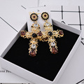 New Fashion Baroque Style Large Big Cross Earrings Black/Red Crystal Exaggeration  Jewelry Statement Earring 413