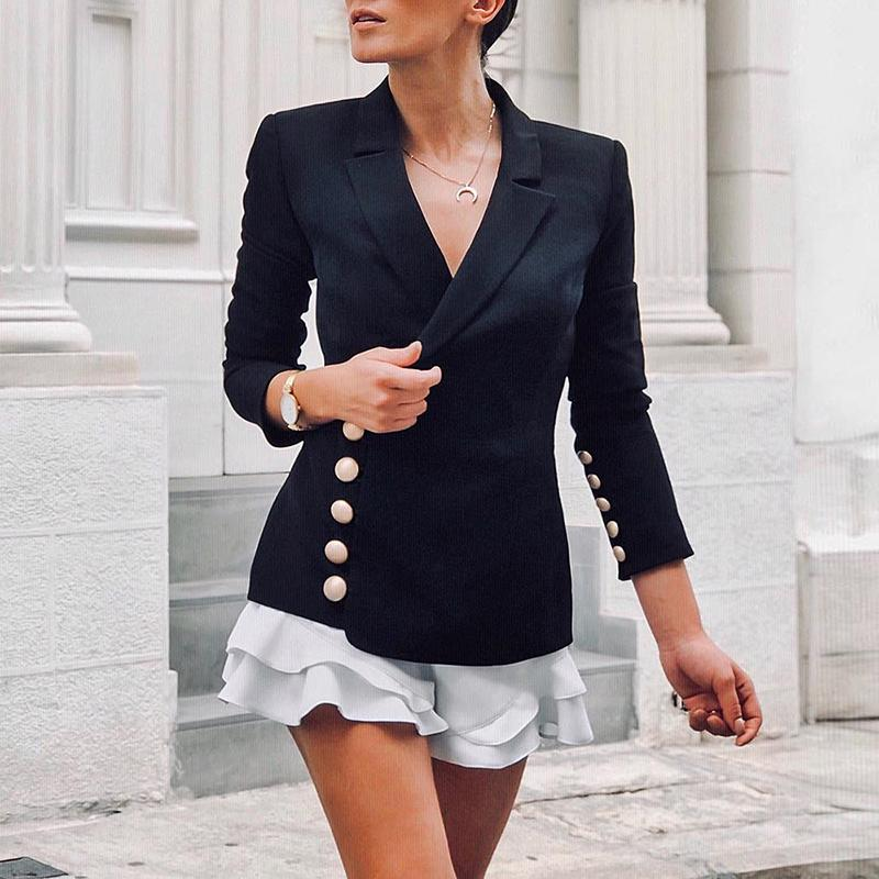 Button Detail Wrap Blazer Women Turn Down Collar Single Breasted Blazers Women Jacket 2019 Elegant Office Ladies Blazer Coat