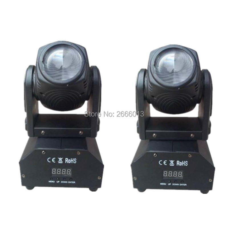 2pcs/lot 10W LED Beam Moving Head Light RGBW DMX512 Rotating Stage Effect Lamp, Sound Activated Master-slave Auto Beam Light