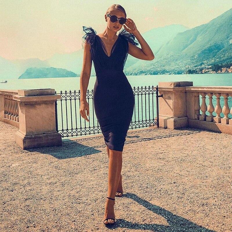 Bandage Dress Elegant 2019 New Sleeveless Deep V Mesh Patchwork Runway Celebrity Evening Party Dress Vestidos