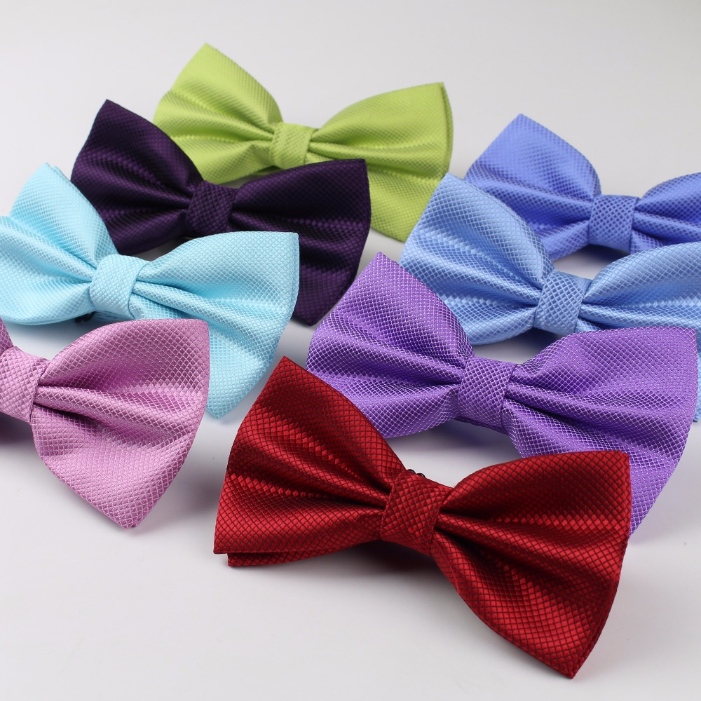 Hot Selling Plaid Bowties Groom Mens Solid Fashion Cravat