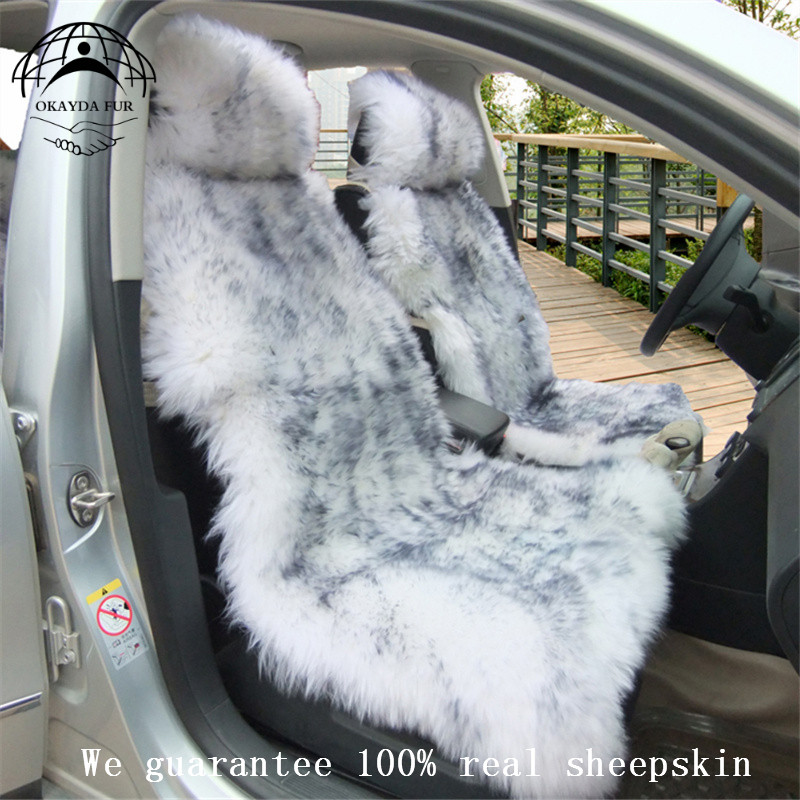 цена на Australia sheepskin car seat cover 1 piece plush fur car interior accessories cushion styling universal warm car seat cover